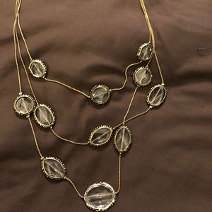 Chico's Tier Necklace Clear Stones Gold Accent